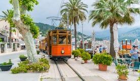 Port de Soller, Palma Mallorca, Spain. Port De Soller, Mallorca, Spain - October 13, 2017: Famous tramway tren of Port de Soller, Palma Mallorca, Spain royalty free stock photo