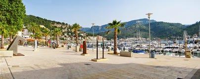 Port de Soller - panorama of promenade at harbor, Majorca Stock Photography