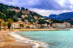Port de Soller sand beach, Mallorca, Spain. Port de Soller is a popular resort town with a sand beach on Mallorca, Balearic Islands, Spain Stock Photography