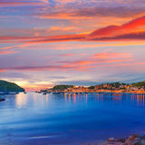 Port de Soller sunset in Majorca at Balearic island Royalty Free Stock Photos