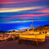 Port de Soller sunset in Majorca at Balearic island Royalty Free Stock Photography