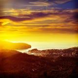 Port de Soller sunset in Majorca at Balearic island Stock Photography