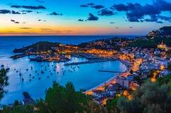 Port de Soller at sunset Majorca island, Spain. Sunset at the beautiful coast bay of Port de Soller, Mallorca island, Spain Mediterranean Sea, Balearic Islands stock images