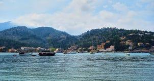 Port de Soller. View of the bay of Port de Soller, Spain Stock Image