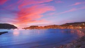 Port DE Soller zonsondergang in Majorca bij Baleaars Eiland Mallorca stock footage