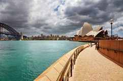 Port de Sydney et théatre de l'$opéra Photographie stock libre de droits