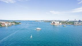 Port de Sydney et vue de bordures à la tête du nord Image stock