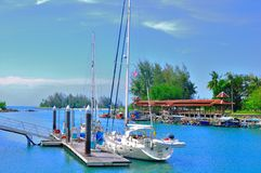 Port de Telaga et quai de bateau de Perdana Images libres de droits
