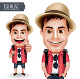 Port de touristes de caractère de vecteur d'homme de voyageur occasionnel avec le sac à dos pour le voyage et hausse Image libre de droits