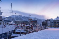 Port de Tromsø de fishingboats d'Oversnowed Images libres de droits