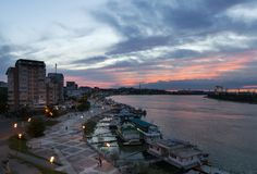 Port de Tulcea, delta de Danube image stock