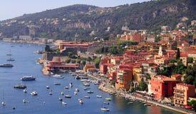 Port de Villefranche-sur-Mer, Cote d'Azur, o du sud Photographie stock libre de droits