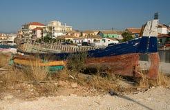Port de wreckege de bateau de Leucade Grèce Photographie stock libre de droits