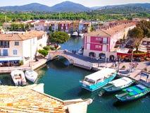 Port de yacht dans le port Grimaud, France Photos libres de droits