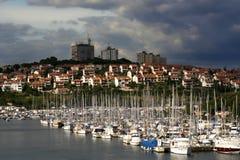 Port de yacht dans les Pula Photo libre de droits