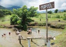 Mud Pool. PORT DENARAU, FIJI-NOVEMBER 27,2016: Tourists bathing in mud pool in the tropical landscape of Port Denarau, Fiji Royalty Free Stock Images