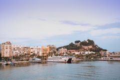 Port of Denia, castle and boats, Valencian Community, Spain stock image