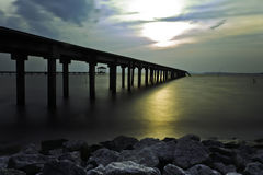 Port Dickson, Malaysia. Sunset at a jetty in Pasir Panjang, Port Dickson, Malaysia during sunset... Its a place where the local fishermen will bring in and sell Stock Photo