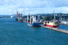 Port, dock and ships in city Royalty Free Stock Photography