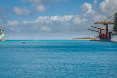 Port, Docks and Pier in Bridgetown, Barbados. Bridgetown, Barbados, in this beautiful island of the Caribbean Netherlands, with its paradisiac beaches and water Stock Image