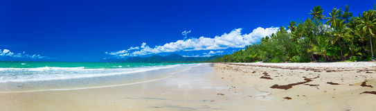 Port Douglas fyra mil strand och hav på solig dag, Queensland, Royaltyfria Foton