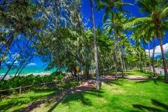 Port Douglas fyra mil strand och hav på solig dag, Queensland, Arkivbilder