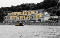 Port douro river porto yelow. Boat on douro river yelow Royalty Free Stock Photos