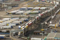 The Port of Dover in Kent United Kingdom. Dover, United Kingdom, 18th January 2019:- Lorries waiting to leave the Port of Dover, Kent the nearest British port to stock images