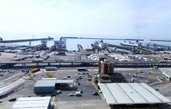 Port of Dover with vehicles awaiting at ferry terminals royalty free stock photo