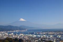 Port du mont Fuji et de Shimizu Photographie stock libre de droits