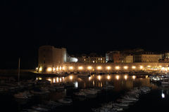 Port of Dubrovnik. Night port of Dubrovnik. Old Town. Fortress St. Ivan. glowing lights stock images
