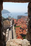 Port of Dubrovnik. Night port of Dubrovnik. Old Town. Fortress St. Ivan. roofs of the old town stock photos