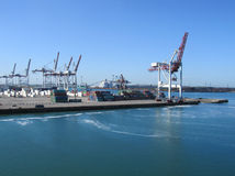 Port of Dunkerque, France. DUNKERQUE, FRANCE, MAY 13 2015: View of the Ferry Port in Dunkerque. The port connects to Dover, England and is a busy terminal for Stock Images