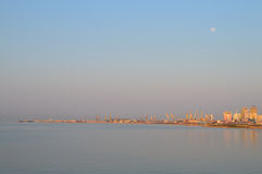 The Port of Durres. Full moon above the port of Durres, Albania Stock Photos
