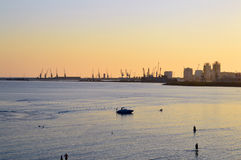 The Port of Durres. On Sunset Stock Photo