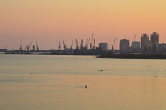 The Port of Durres. On Sunset Royalty Free Stock Images