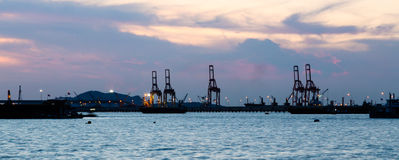 Port at dusk Royalty Free Stock Photos