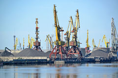 Port easels on coal loading. Kaliningrad trade seaport.  Royalty Free Stock Images