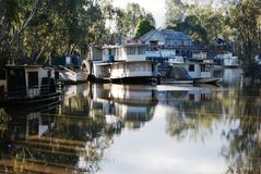 Port of Echuca Australia Houseboats Royalty Free Stock Photos