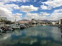 Port in Eilat. View on port, hotels , sky and clouds Stock Photo