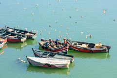 Port of El Jadida, Morocco. EL JADIDA, MOROCCO - SEP 1, 2015: Boats on the coast near the Portuguese Fortified City of Mazagan, UNESCO World Heritage Site, El stock image