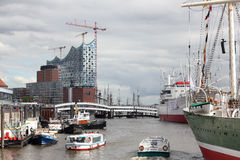 Port and Elbe Philharmonic Hall in Hamburg, Germany Royalty Free Stock Images