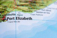 Port Elizabeth на карте Стоковые Изображения RF
