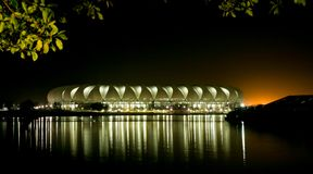 Port Elizabeth Soccer Stadium at Night Stock Images