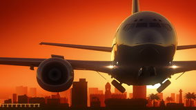 Port Elizabeth South Africa Airplane Take Off Skyline Golden Background Royalty Free Stock Photography