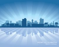 Port Elizabeth South Africa city skyline silhouette. Vector illustration Royalty Free Stock Image