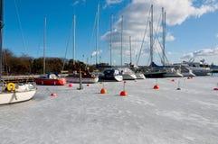 Port en hiver Photographie stock libre de droits