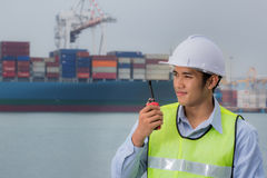 Port Engineer Supervision Stock Photo