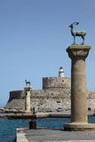 Port entrance into the harbor of Rhodes Royalty Free Stock Photography