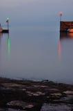 Port entrance at night Royalty Free Stock Photos